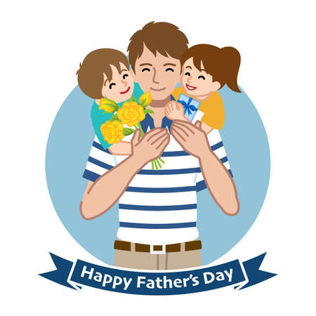 Two children give gifts for father who wearing a Polo shirt - Father's day clip art