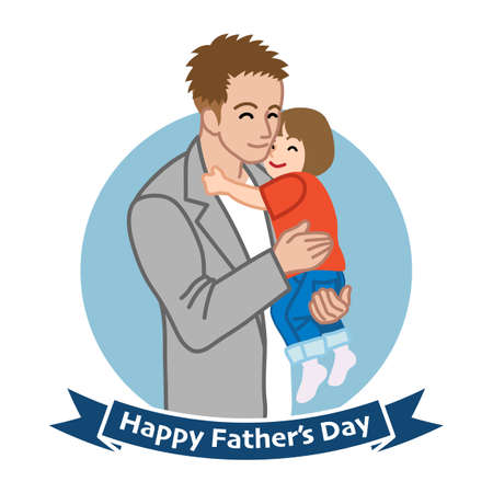 Father who wearing a jacket embracing a child - Father's day clip art