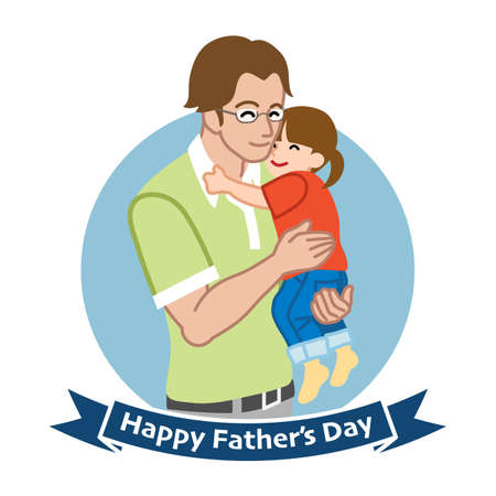 Father who wearing eyeglasses embracing a child - Father's day clip art 向量圖像