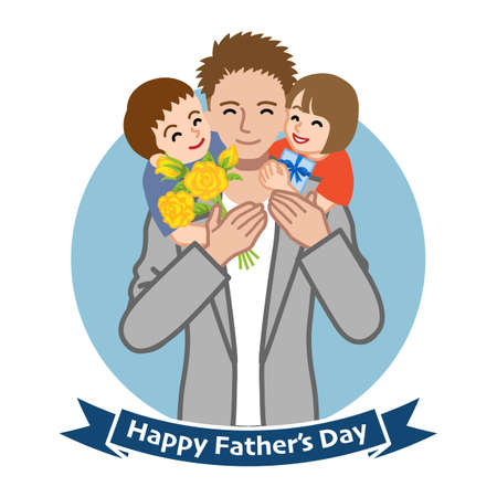 Two children give gifts for father - Father's day clip art