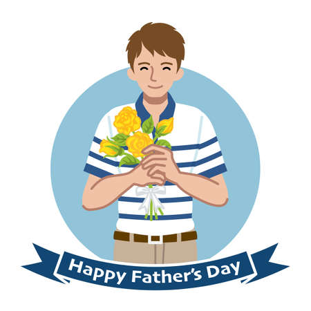 Smiling man who wearing a Polo shirt holding a yellow rose bouquet - Fathers day clip art 向量圖像