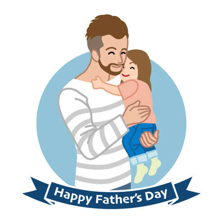 Bearded Father embracing a child - Father's day clip art 向量圖像