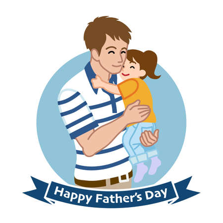Father who wearing a Polo shirt embracing a child - Father's day clip art