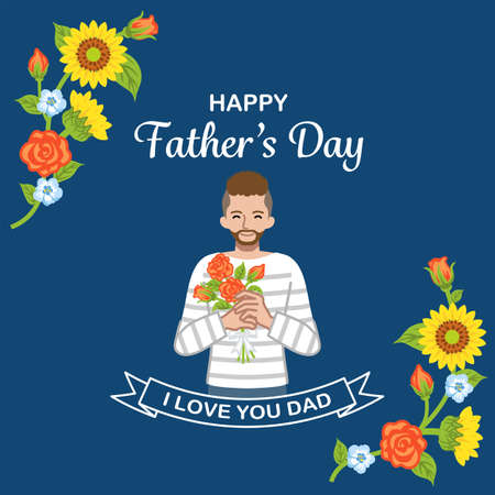Beard man who holding a rose bouquet - Father's day design template, square ratio