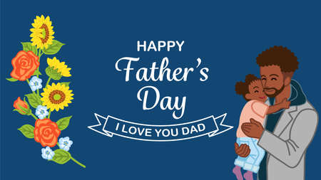 African ethnic father embracing a daughter - Father's day design template