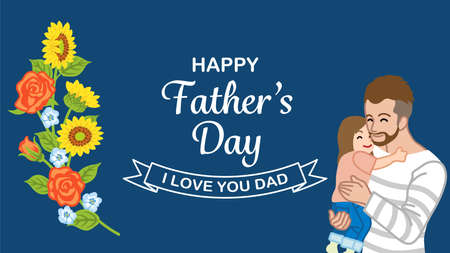 Beard father embracing a daughter - Father's day design template
