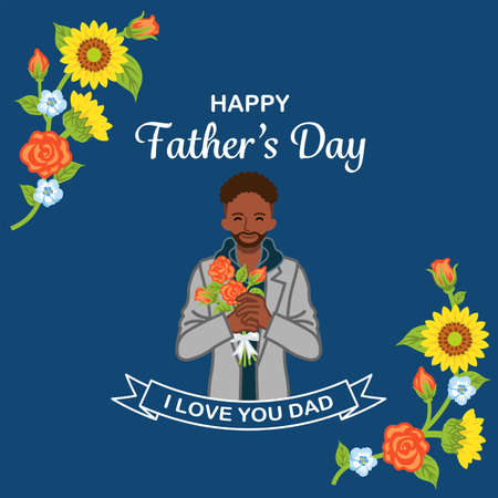 African ethnic man holding rose bouquet - Father's day design template, square ratio