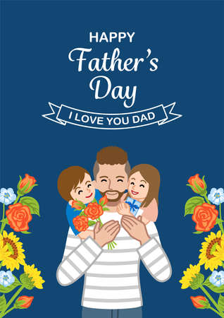 Beard father and two children - Father's day design template, Vertical