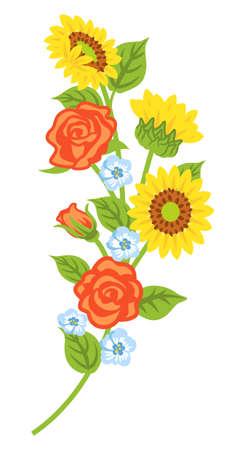 Multiple kind of flowers decoration - curve line