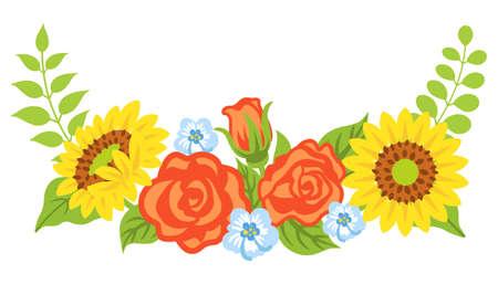 Multiple kind of flowers decoration - Bended line, upward 向量圖像