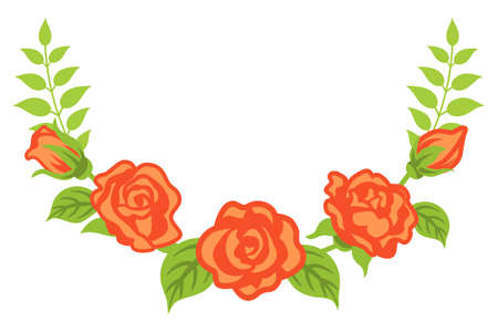 Apricot color rose decoration - Bended line