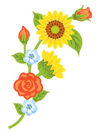 Multiple kind of flowers decoration - Winding line