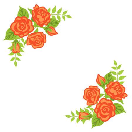 Apricot color rose decoration - Corner frame