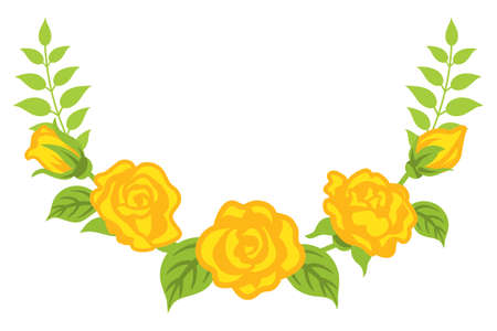 Yellow rose flower decoration - Bended line