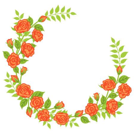 Apricot color rose decoration - Wreath 向量圖像