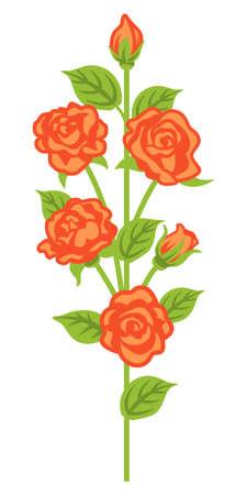 Apricot color rose decoration - straight line 向量圖像