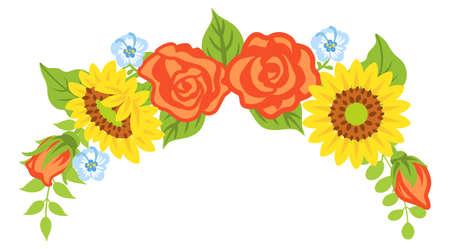 Multiple kind of flowers decoration - Bended line, downward 向量圖像