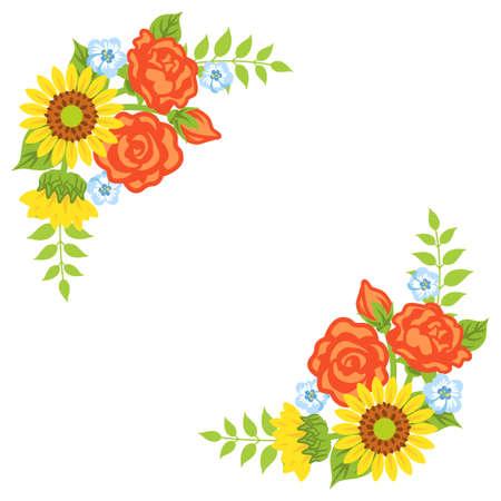 Multiple kind of flowers decoration - Corner frame 向量圖像