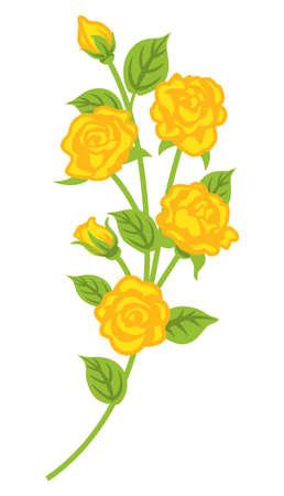 Yellow rose flower decoration - curve line