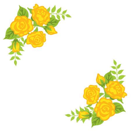 Yellow rose flower decoration - Corner frame