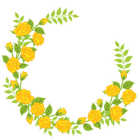 Yellow rose flower decoration - Wreath