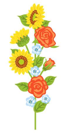 Multiple kind of flowers decoration - straight line