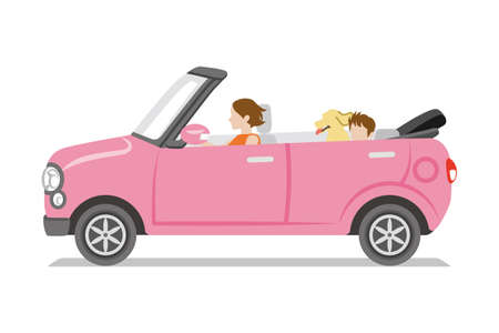 Pink small convertible car ,side view - Mother, child, dog seated