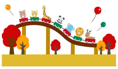Illustration set of cute animals playing in the amusement park Ilustracja