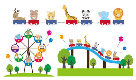 Illustration set of cute animals playing in the amusement park Vecteurs
