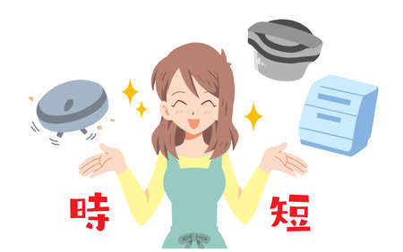 Illustration of a housewife who is happy to use time-saving home appliances