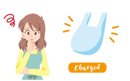 Illustration of a housewife who is in trouble because the shopping bag is charged