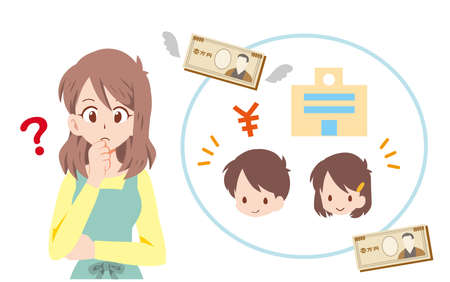 Illustration of a mother worried about spending on education