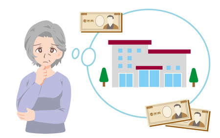 Illustration of an old man suffering from the cost of a retirement home  イラスト・ベクター素材