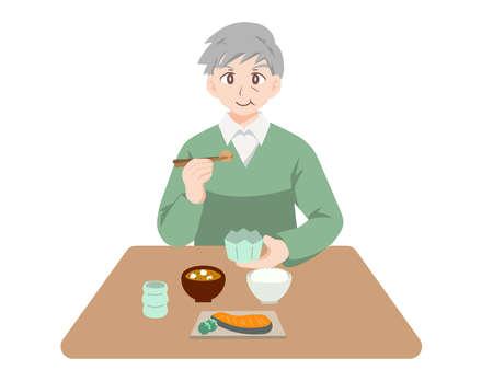 Illustration of elderly people having fun eating  イラスト・ベクター素材