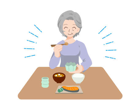 Illustration of elderly people having fun eating 矢量图像