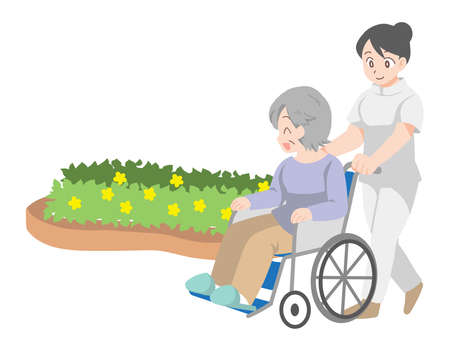 Illustration of an elderly person and a caregiver in a wheelchair Çizim