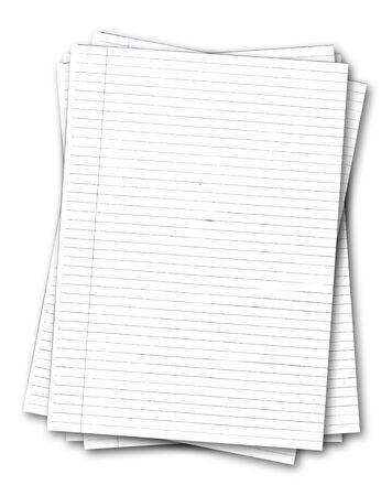 Stack of old lined papers from note book isolated on white background Stock Photo - 5773375
