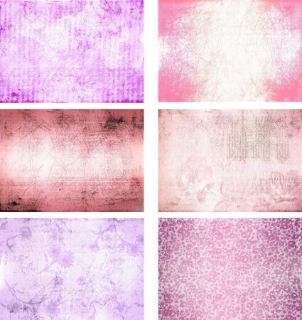 pink and brown: collection of grunge background textures Stock Photo