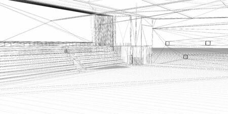 salle de sport:  Rendu 3D filaire-sports hall. Arri�re-plan blanc. Banque d'images