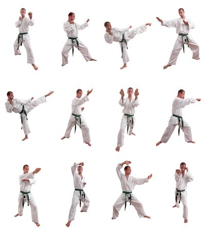 practise: collage of a man performing martial arts - isolated