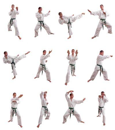 oefenen: Collage van een man martial arts - geïsoleerd uitvoeren