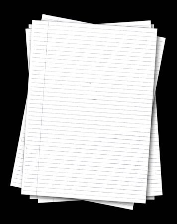 Stack of old lined papers from note book isolated on black background Stock Photo - 6095802