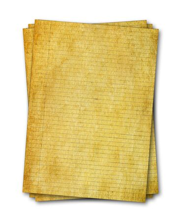 Stack of old lined grungy papers from note book isolated on white background Stock Photo - 6095811