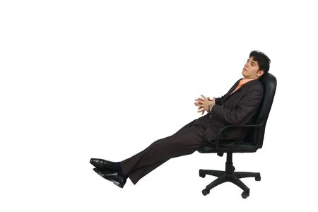 Full body portrait of a Businessman sitting on chair. Isolated on white background. Stock Photo - 6184649