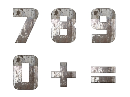 7890 = numbers and signs isolated, grungy  photo