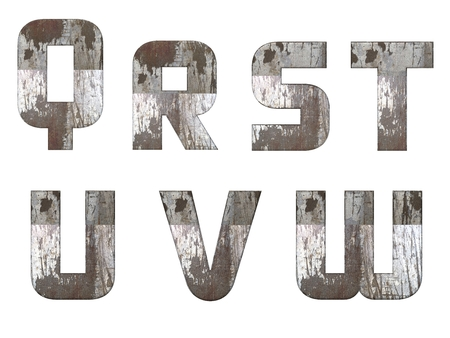 QRSTUVW alphabets isolated, grungy