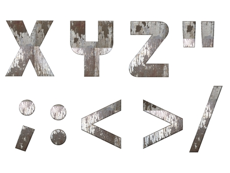 XYZ,: alphabet and signs isolated, grungy