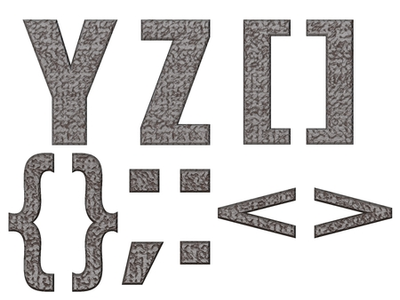 YZ [] {} ,:  alphabet and signs isolated, grungy  photo