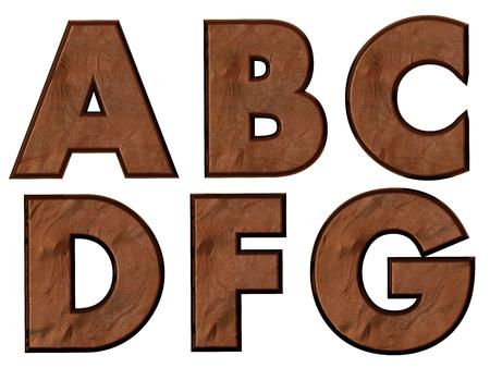 ABCDFG alphabets isolated, grungy  photo