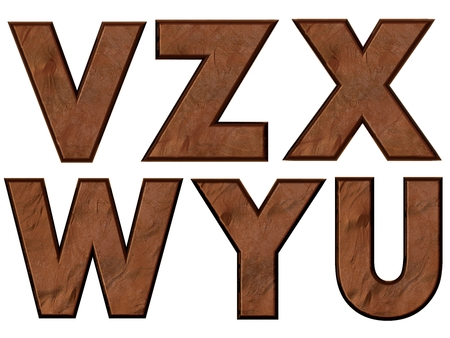 VZXWYU alphabets isolated, grungy